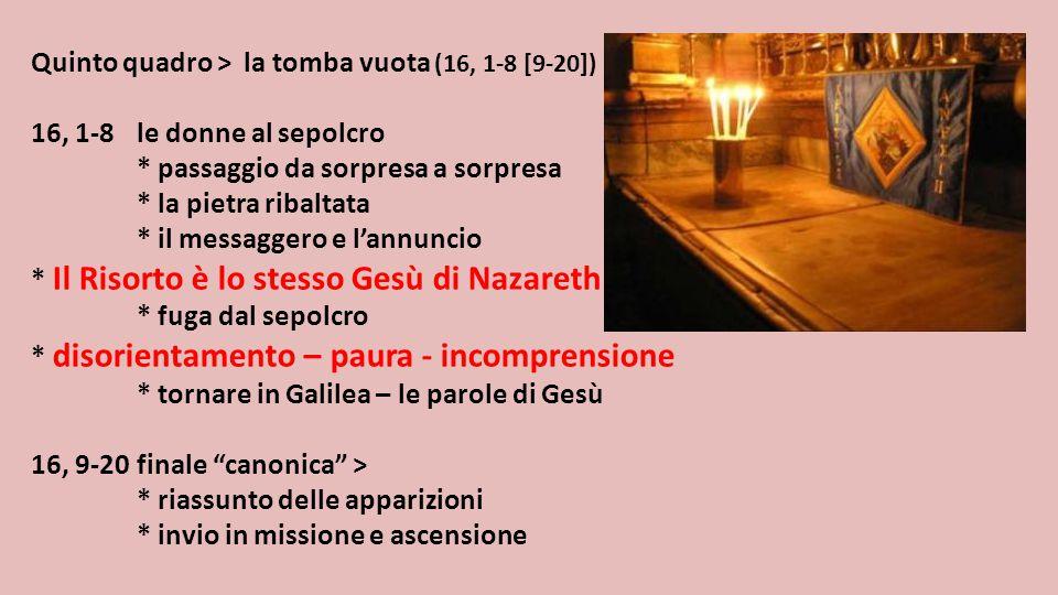 Quinto quadro > la tomba vuota (16, 1-8 [9-20])